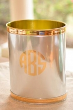 Chrome and Gold Wastebasket