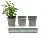 Galvanized Tin Planter Set - 4 pieces