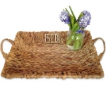 Monogram Wicker Tray