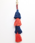 Navy & Orange Layered Tassel Clip-On